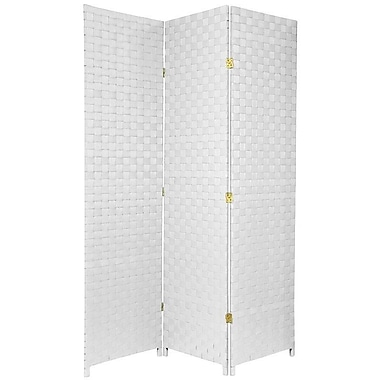 Oriental Furniture 71'' Tall Woven Fiber Outdoor All Weather 3 Panel Room Divider; White