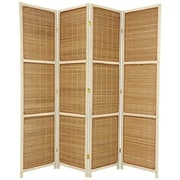 Oriental Furniture 70.75'' x 71'' Woven Accent 4 Panel Room Divider; Cream