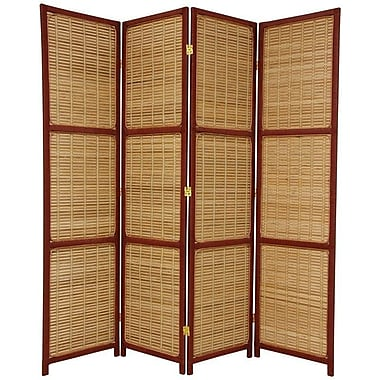Oriental Furniture 70.75'' x 71'' Woven Accent 4 Panel Room Divider; Red Brown
