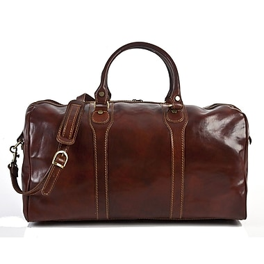 Tony Perotti Amato 20'' Itallian Leather Weekender Duffel; Brown