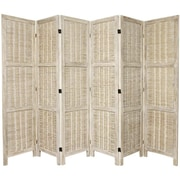 Oriental Furniture 67'' x 85'' Bamboo Tree Matchstick Woven 6 Panel Room Divider; Burnt White