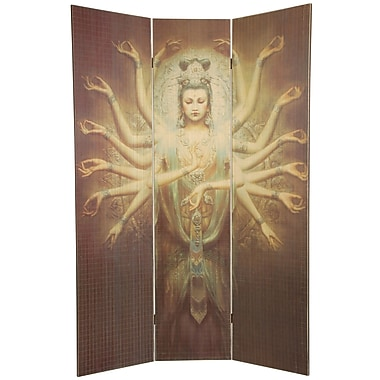 Oriental Furniture 70.25'' x 46.5'' Bamboo Tree Thousand Arm Kwan Yin 3 Panel Room Divider