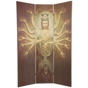 Oriental Furniture 70.25'' x 46.5'' Bamboo Tree Thousand Arm Kwan Yin 3 Panel Room Divider