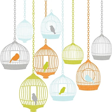 WallPops!MD – Trousse d'art mural, grande, Cages à oiseaux, 25 autocollants