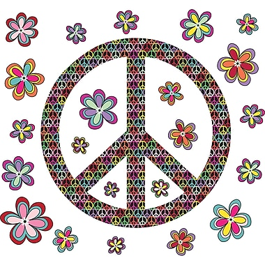WallPops!MD – Trousse d'art mural, grande, Peace and Love, 24 autocollants