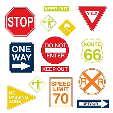 WALL POPS!® Large Wall Art Kit, Road Signs, 14 Stickers