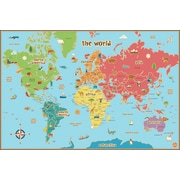 "WALL POPS!® Dry-Erase World Kid's Map, 36"" x 24"""