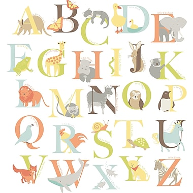 Trousse d'art mural, grande, Zoo de l'alphabet, 26 autocollants