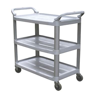 Duraplus Large Utility Cart, Open-Sides, 3 Shelves, Grey