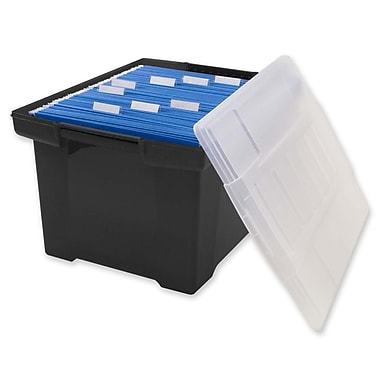 Storex® Letter/Legal File Tote, Black Base with Clear Lid