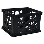 Storex Portable Letter/Legal Stacking File Crate, Black