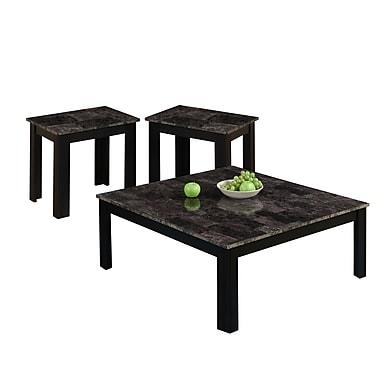 Monarch – Ensemble de 3 tables carrées avec dessus en marbre, noir/gris