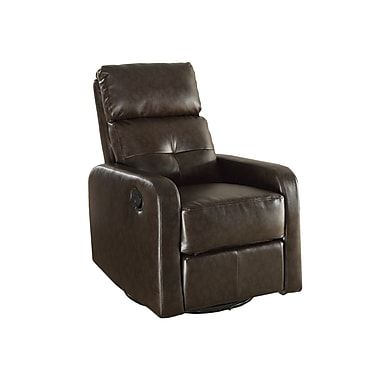 Monarch Leather Polyurethane, Wood & Foam Glider Recliner Chair Dark Brown