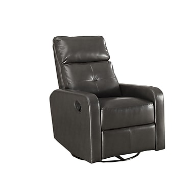 Monarch I8085GY Bonded Leather Swivel Glider Recliner, Charcoal Grey