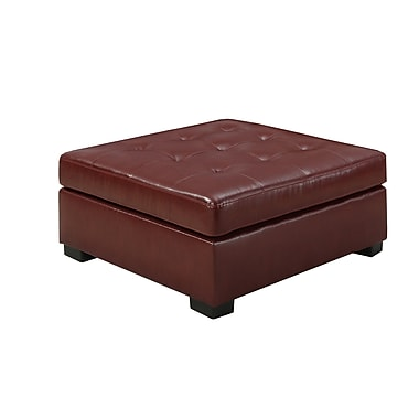 Monarch Bonded Leather Plywood Ottoman Red