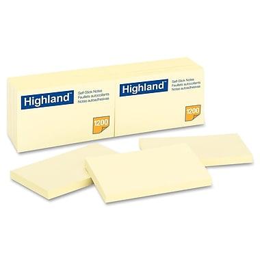 Highland – Feuillets auto-adhésifs, 3 po x 5 po; paq./12 blocs