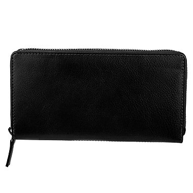 Bugatti Ladies Milled Vegetable Tanned Leather Accordion Zip Wallet with Identity Block™, Black