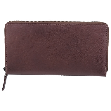 Bugatti Ladies Milled Vegetable Tanned Leather Accordion Zip Wallet with Identity Block™, Brown
