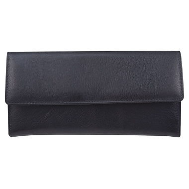 Bugatti Ladies Milled Vegetable Tanned Leather Clutch Wallet with Identity Block™, Black