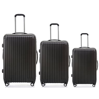 Champs 3-Piece Tourist Collection Hardside Spinner Set, Black