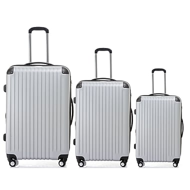 Champs 3-Piece Tourist Collection Hardside Spinner Set, Silver
