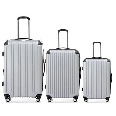 Champs - Ensemble de valises rigides 3 morceaux de la collection Tourist, roues pivotantes, argent