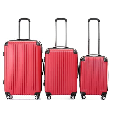 Champs - Ensemble de valises rigides 3 morceaux de la collection Tourist, roues pivotantes, rouge