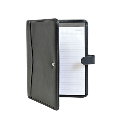Champs Bonded Leather Padfolio with Exterior Straps, Black