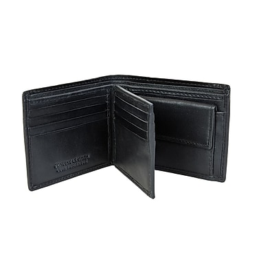 Champs Leather Bifold Wallet with Change Pocket, Black