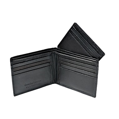 Champs Leather Bifold Wallet with Removable Cardholder From Bill Compartment, Black