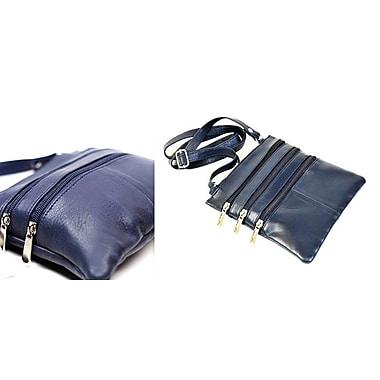 Champs – Sac à bandoulière en cuir, 7 x 7 po, bleu marine