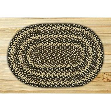 EarthRugs Ebony/Ivory/Chocolate Braided Area Rug; Oval 3' x 5'