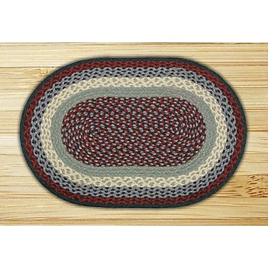 EarthRugs Blue/Burgundy Braided Area Rug; Oval 1'8'' x 2'6''