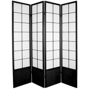 Oriental Furniture 70.25'' x 56'' Asian Zen 4 Panel Room Divider; Black