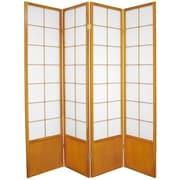Oriental Furniture 70.25'' x 56'' Asian Zen 4 Panel Room Divider; Honey