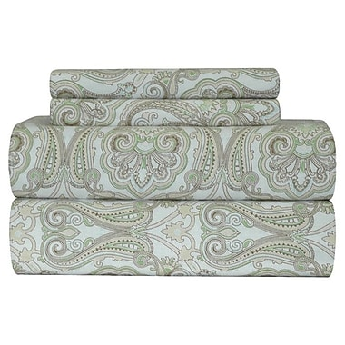 Pointehaven Heavy Weight Paisley Printed Flannel Sheet Set; Full