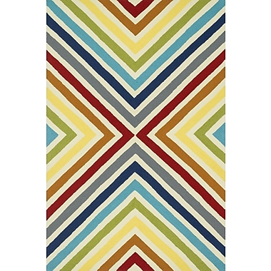 Dann Foley Palm Springs Hand-Hooked Red/Yellow Indoor/Outdoor Area Rug; Round 7'10''