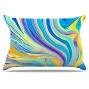 KESS InHouse Rainbow Swirl Pillowcase; Standard