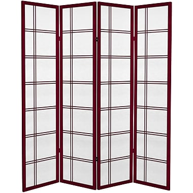 Oriental Furniture 71'' x 63'' Double Cross 4 Panel Room Divider; Rosewood