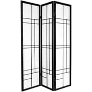 Oriental Furniture 70.25'' x 42'' Eudes Shoji 3 Panel Room Divider; Black