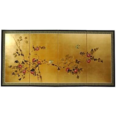 Oriental Furniture 36'' x 72'' Gold Leaf Blossom 4 Panel Room Divider