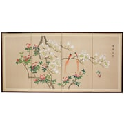 Oriental Furniture 36'' x 72'' Love Birds 4 Panel Room Divider
