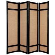 Oriental Furniture 71'' x 56'' Jute Shoji 4 Panel Room Divider; Black