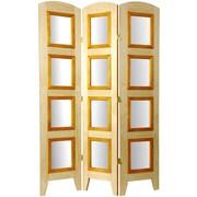 Oriental Furniture 67'' x 37'' Photo Display Shoji 3 Panel Room Divider; Natural