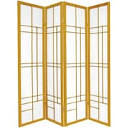 Oriental Furniture 70.25'' x 56'' Eudes Shoji 4 Panel Room Divider; Honey