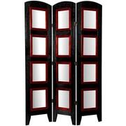Oriental Furniture 67'' x 37'' Photo Display Shoji 3 Panel Room Divider; Black