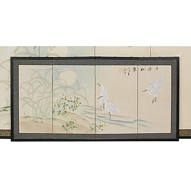 Oriental Furniture 18'' x 36'' Cranes in Full Moon 4 Panel Room Divider