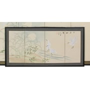 Oriental Furniture 18'' x 36'' Cranes in Full Moon 4 Panel Room Divider