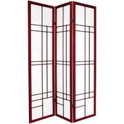 Oriental Furniture 70.25'' x 42'' Eudes Shoji 3 Panel Room Divider; Rosewood