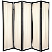 Oriental Furniture 72'' x 70'' Helsinki Shoji 5 Panel Room Divider; Black